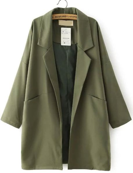 $27, Navy Lapel Pockets Loose Trench Coat. Sold by Romwe. Click for more info: https://lookastic.com/women/shop_items/356241/redirect