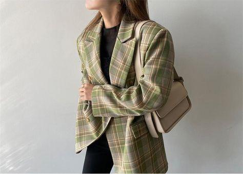 Vintage Loose Women Plaid Blazer - Green / M