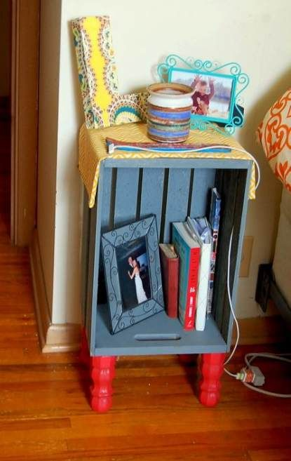 52 Ideas For Wood Pallet Headboard Night Stands Wood Wood Crates Diy Nightstand
