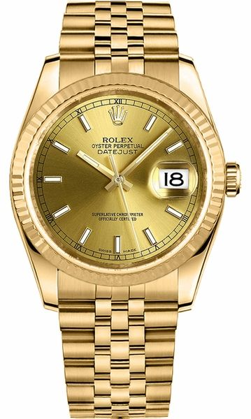 Rolex Datejust 36 Solid Gold Fluted Bezel Watch 116238 in
