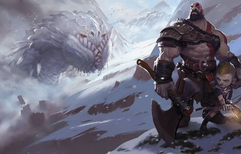 Wallpaper Fantasy, Kratos, God of War, Kratos, Illustration