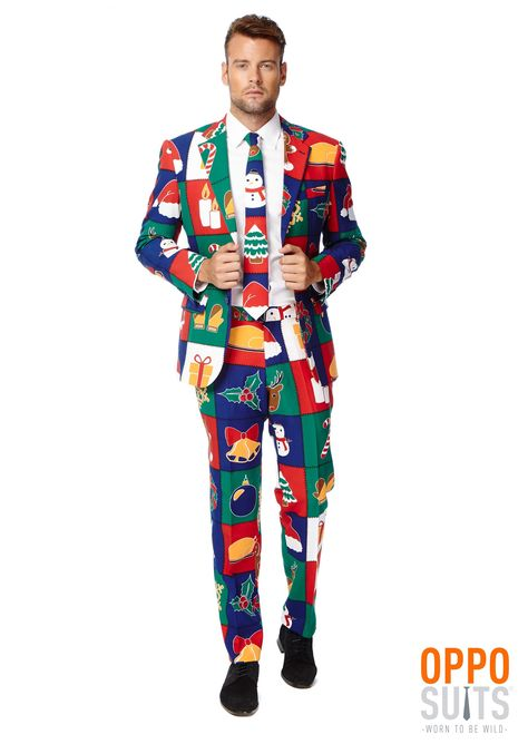 Why waste your time with just an tacky Christmas sweater, when you can. . .wait for it. . . step up in a men's ugly Christmas sweater suit!