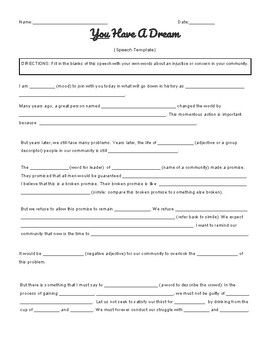 I Have A Dream Template Speech Thi Worksheet For Student To Write Their Own Version O Rhetorical Analysis Analysi Essay