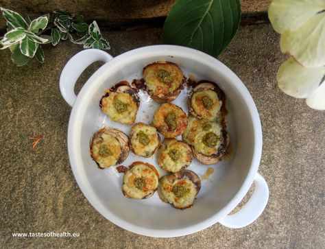 Ricotta and Pesto Stuffed Mushrooms [Vegetarian]