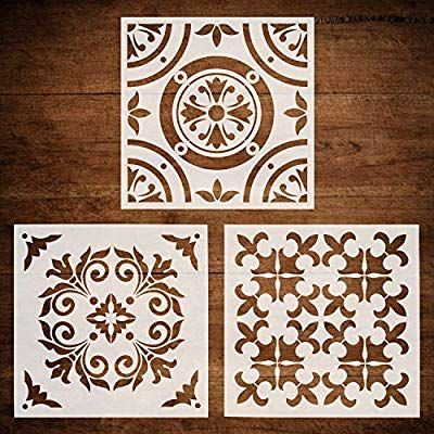 Amazon Com Codohi 3 Packs Wall Furniture Floor Stencils 12x12 Inch Resuable Airbrush Painting Floor Stencils Patterns Stenciled Floor Geometric Wall Stencil