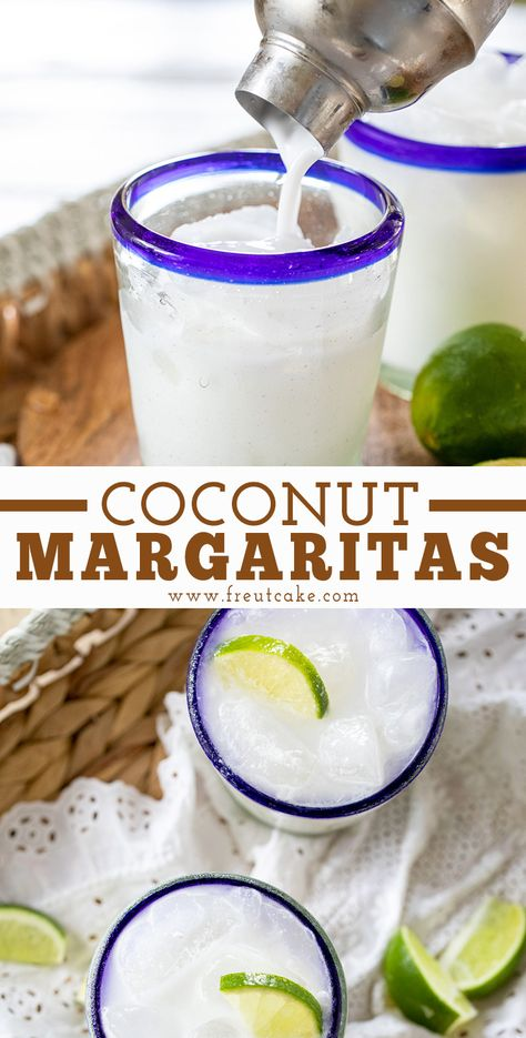 Creamy Coconut Margaritas made with two kinds of coconut will be your new favorite homemade margarita. Perfect for Taco Tuesday, Cinco de Mayo, or any night you need a tropical vacation at home. Coconut Tequila, Coconut Margarita, Margarita Recipes, Tropical Margarita Recipe, Coconut Wine, Best Margarita Recipe, Coconut Shell, Coconut Curry, Coconut Flour