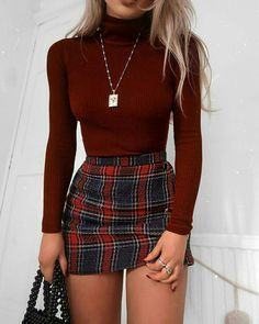 Look blogueira - Saia xadrez