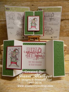 Double Z Gate Fold Card Featuring Merry Mice And Wonderful Year Created By Joanne Mulligan Independe Stampin Up Christmas Cards Fun Fold Cards Christmas Cards