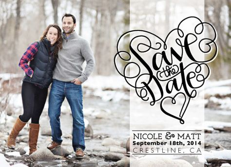 save the date cards - Hand-lettered heart horizontal
