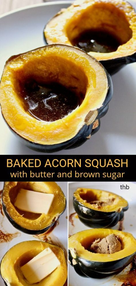 acorn squash, with butter and brown sugar.Easy baked acorn squash, with butter and brown sugar.baked acorn squash, with butter and brown sugar.Easy baked acorn squash, with butter and brown sugar. Acorn Squash Brown Sugar Recipe, Acorn Squash In Oven, Butter Squash Recipe, Acorn Squash Recipes, Baked Squash Recipes, No Sugar Foods, Comfort Food, Vegetable Dishes, Vegetable Recipes