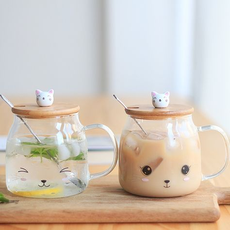 mug cup Online Shop New Cute Cat Milk Mugs High Borosilicate Glass Tea Cup With Cover Spoon Heat-resisting Milk Mug Breakfast Dinnerware To Go Becher, Cute Water Bottles, Glass Water Bottle, Glass Tea Cups, Cute Kitchen, Cute Mugs, Cute Tea Cups, Dinnerware, Tea Party