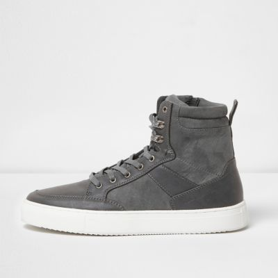 River Island Mens Grey lace-up high top sneakers LnfsAWT