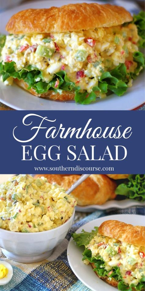 This is THE BEST egg salad recipe! Easy southern delicious this Farmhouse style egg salad has pickle relish pimentos celery and green onion. Best Egg Salad Recipe, Easy Salad Recipes, Lunch Recipes, Cooking Recipes, Healthy Recipes, Egg Salad Sandwich Recipe With Relish, Simple Egg Salad Recipe, Simple Egg Recipes, Masters Egg Salad Recipe
