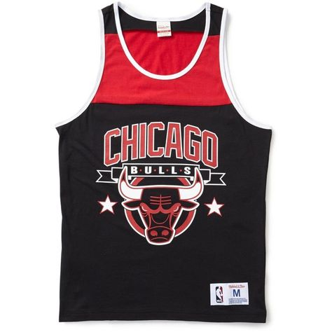 8c6c54b1cac4f6 Mitchell   Ness Chicago Bulls NBA Color Blocked Tank Top ❤ liked on Polyvore  featuring men s