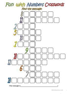 Fun with Numbers (Crossword) - ESL worksheets | English | English ...