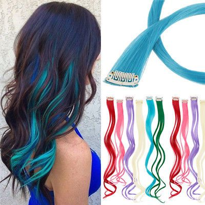 Uk 10pcs Set Highlight Streaks Straight Wavy Clip In Synthetic Hair Extensions Hair Color Streaks Colored Hair Extensions Peekaboo Hair Colors