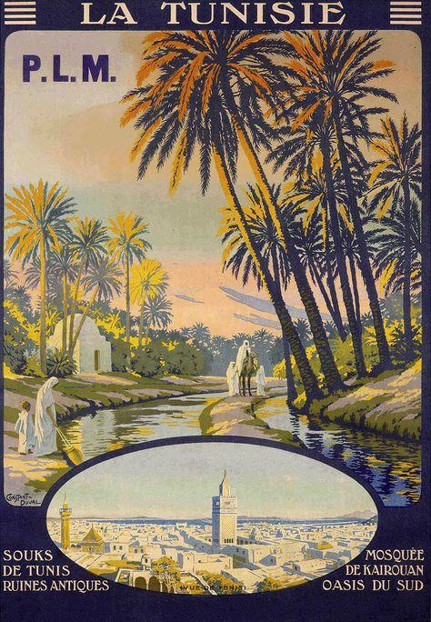 Affiche chemin de fer PLM - La Tunisie - illustration de Constant Duval - France…