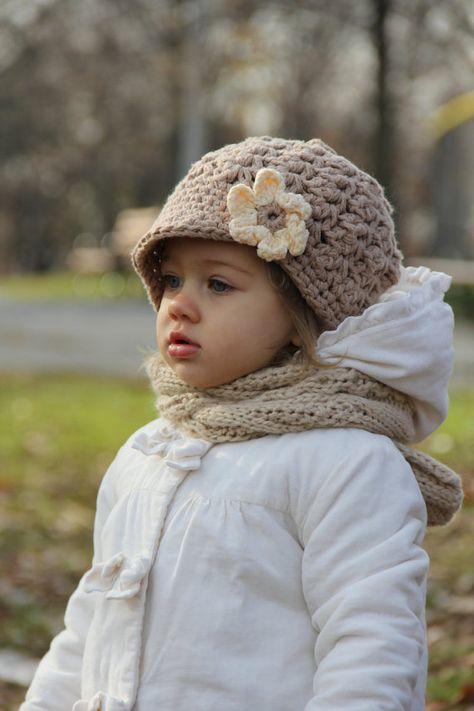 Hat for Girls, crochet baby hat, kids hat, gray hat, newsboy hat ...