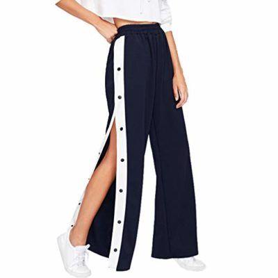 Mujer Cintura Alta Pantalones Largo Moda Pantalon Sueltos Con Botones Comodo Cintura Elastica Ancho Striped Wide Leg Pants Women Pants Casual Pants For Women
