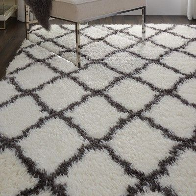 Nourison Ultra Plush Shag Ulp02 White Black Indoor Area Rug 4 X