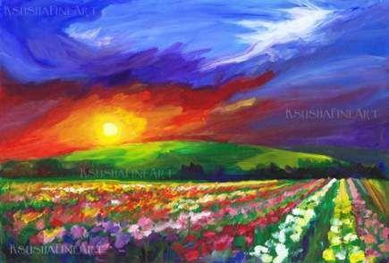 20 New Ideas For Flowers Orange Landscapes Landscape Paintings Art Art Prints For Home
