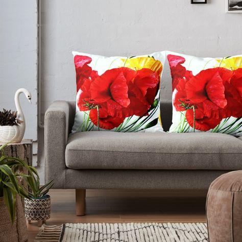 Summer Poppy Bouquet Red Throw Pillow By Karen Stahlros Pillows Throwpillows Decorativepillows Accentpillows Roo In 2020 Red Throw Pillows Throw Pillows Pillows
