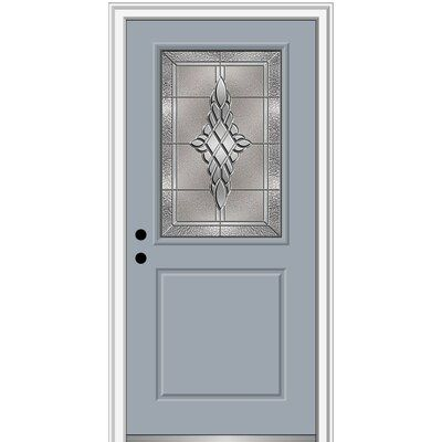 Verona Home Design Grace Painted Both Sides The Same 1 2 Lite 1 Panel Fiberglass Prehung Front Entry Door On 4 9 16 Frame Door Size 80 H X 36 W X Wood Exterior Door