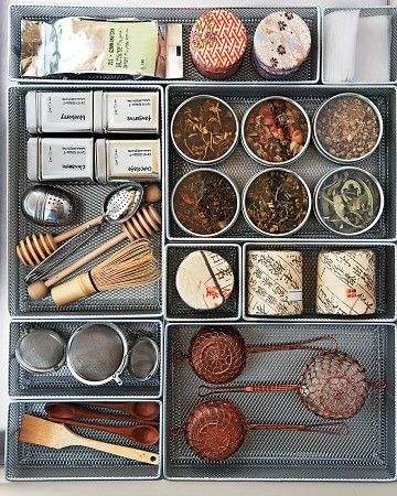 Tea Supplies  Be ready to make the perfect pot with strainers, tea balls, honey dippers, & special tea leaves all in one drawer...I did this years ago & it is wonderful..I love drawers that pull out so I can see everything at once....Golddusttwin