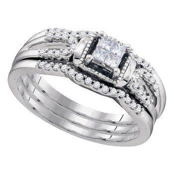 10kt White Gold Womens Princess Diamond 3 Piece Bridal Wedding Engagement Ring Band Set 1 Wedding Rings Engagement Wedding Ring Bands Set Band Engagement Ring