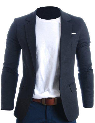 FLATSEVEN Mens Slim Fit Casual Premium Blazer Jacket Black, M ...
