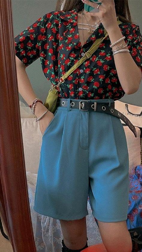 Vintage Floral Blouse Y2K High Waist Shorts