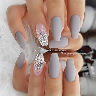 Matte Grey And Silver Glitter Ombre On Coffin Nails Nail Artis Pretty Acrylic Nails Nails Nail Designs