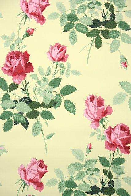 Gorgeous Pink Long Stem Roses On Yellow 1950s Floral Vintage Wallpaper From Hannah S Treasu Pink Flowers Wallpaper Wallpaper Pink And Yellow Vintage Wallpaper