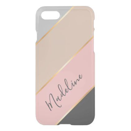 Custom Name Gray Pastel Coral Blush Pink Stripe Uncommon Iphone Case Zazzle Com Coral Blush Pink Stripes Blush Pink