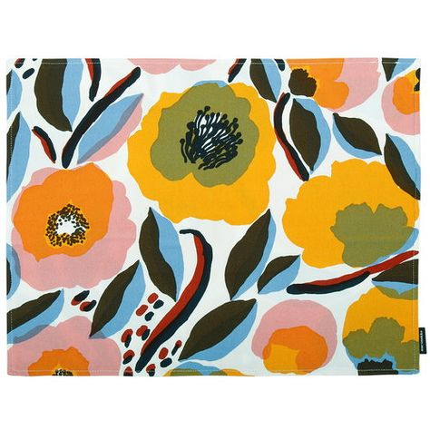Marimekko Rosarium Coated Cotton Placemat Placemats Fabric Placemats Linen Placemats