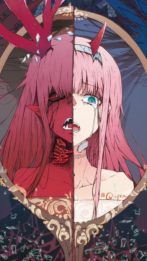 my favorite picture of Zero Two. works as a wallpaper as a plus. artist unknown - DarlingInTheFranxx