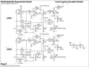 MFOS LFO schematic using TL074 ICs and 2N3904 transistors