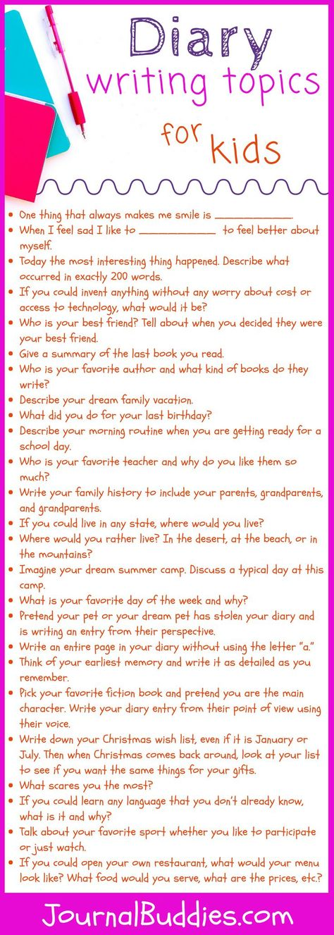 Diary Writing Topics for Kids