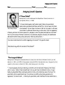 Lincoln S Speeches Analysis Speech Teaching History Analysis