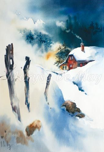 5 11 The Cold The Red Cottage Maryse De May Paysage Hiver