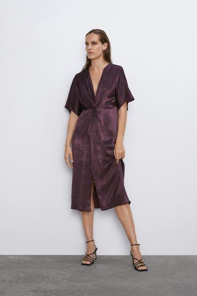 Image 1 Of Satin Effect Dress With Knot Detail From Zara Saum Hose Satinkleid Kleider Fur Frauen