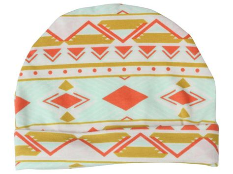 0ee0b90bfd1 Coral and Mint Tribal Baby Beanie Hat Mint Baby by TwoDreamsShop ...