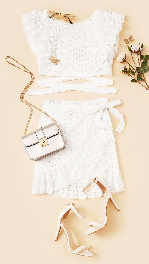 aa00e94c9476d1 SHEIN White Lace Eyelet Ruffle Backless Knot Crop Top and Wrap Belted Mini  Skirt Set