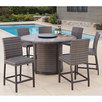 1400 Eastport 7 Piece High Dining Set With Fire 6 Counter Height