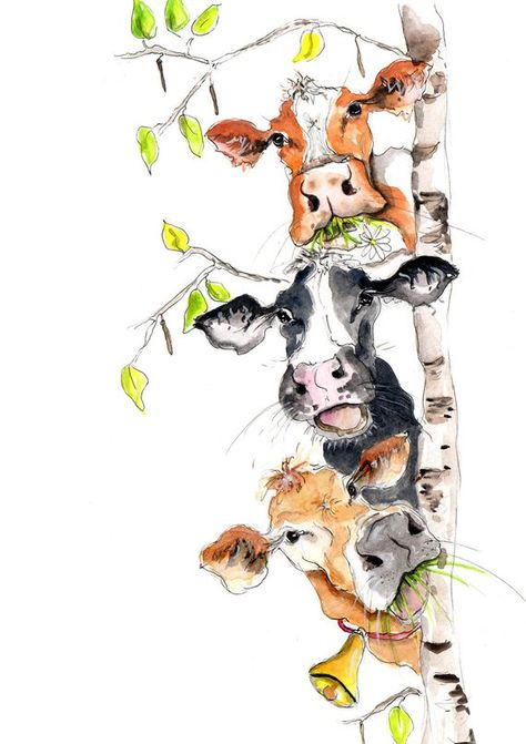 3 Wise Cows Illustration Painting - Watercolor Art -6x4 Print- A4 print set in a mount- farm, animal