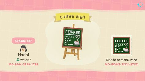 animal crossing new horizons - animals Animal Crossing Pattern, Animal Crossing Guide, Animal Crossing Qr Codes Clothes, Animal Crossing Coffee, Vintage Coffee Signs, Coffee Shop Signs, Ac New Leaf, Motifs Animal, Like Animals