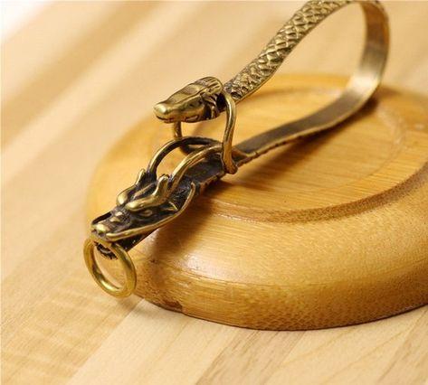 Brass Retro Wire Winding Keychain Belt U Hook Fish Hook Fob Clip Leather Carft