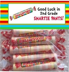 Smartie (Smarty) Pants Favor Bag Toppers - A great end of the school year, graduation or teacher thank you gift.  Check our all our designs at http://www.customwrappers4u.com/SearchResults.asp?Search=tt000