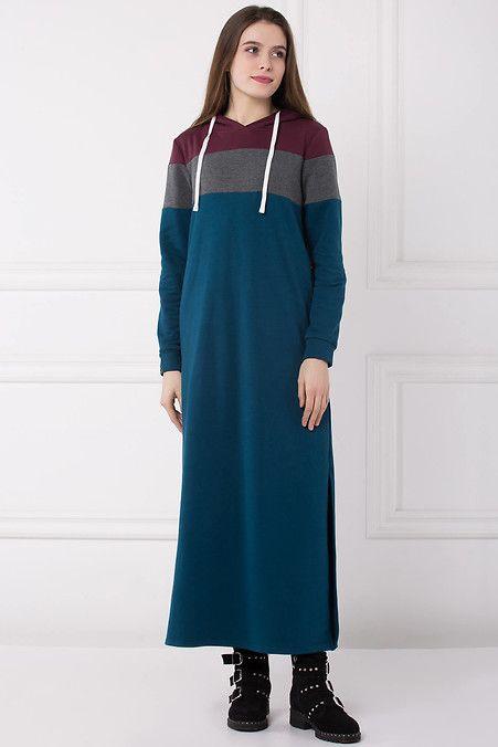 137432dd751 Теплое длинное спортивное платья с капюшоном в синем цвете STWR ...