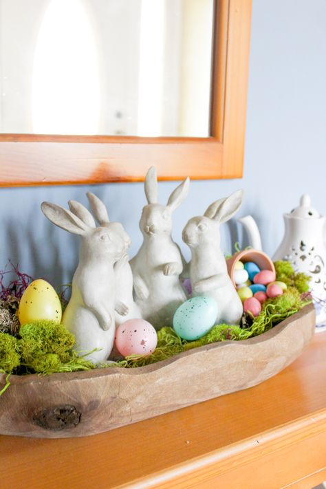 """I decided to create a """"dough bowl"""" inspired centerpiece as an Easter decoration! I love everything bout pastels and that is what this piece is all about! You can even find some of these things from the dollar store! Hoppy Easter, Easter Bunny, Easter Crafts, Easter Decor, Easter Ideas, Coffee Table Centerpieces, Easter 2021, Wooden Dough Bowl, Easter Table"""